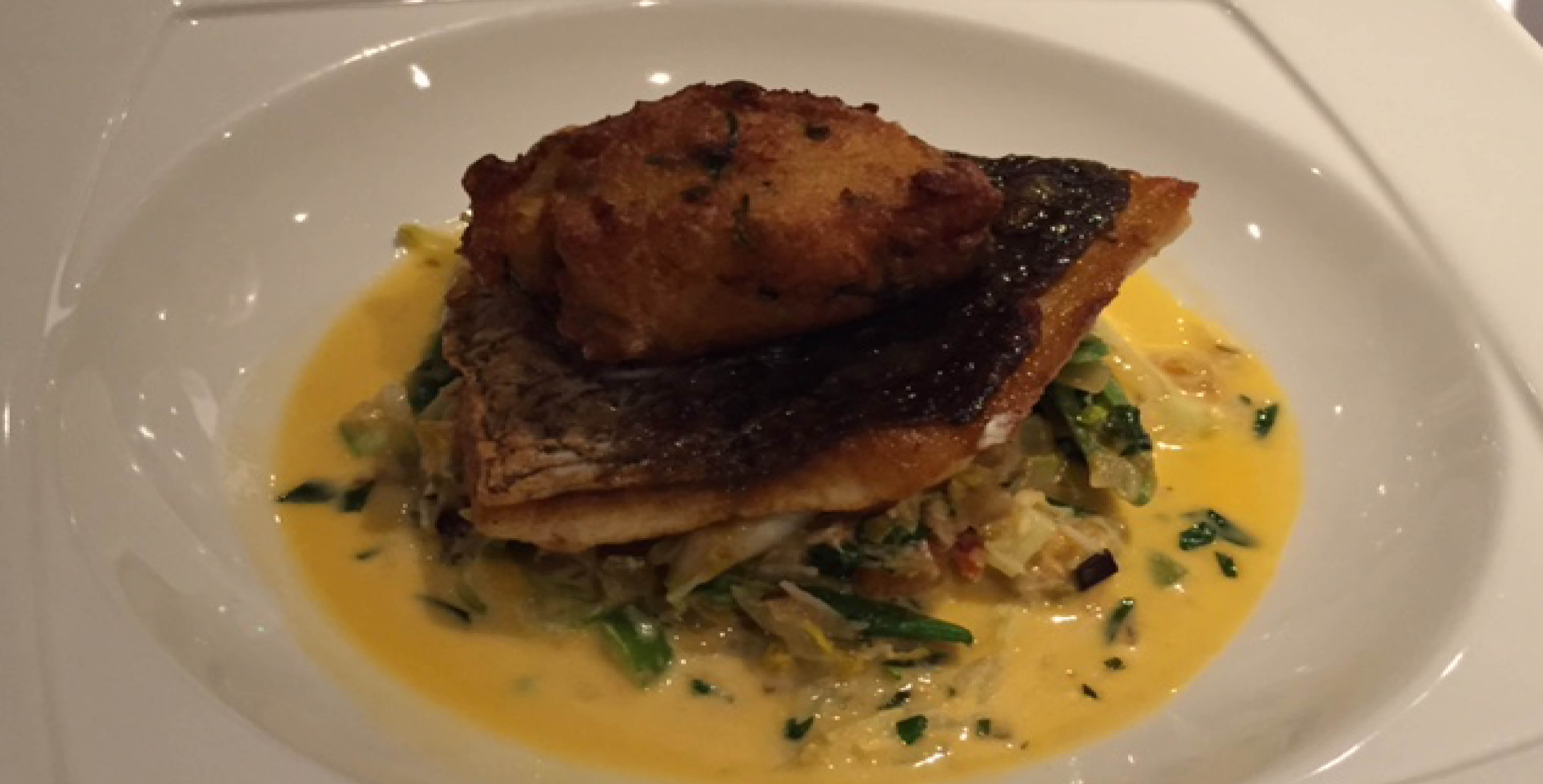 Pan fried wild sea bass