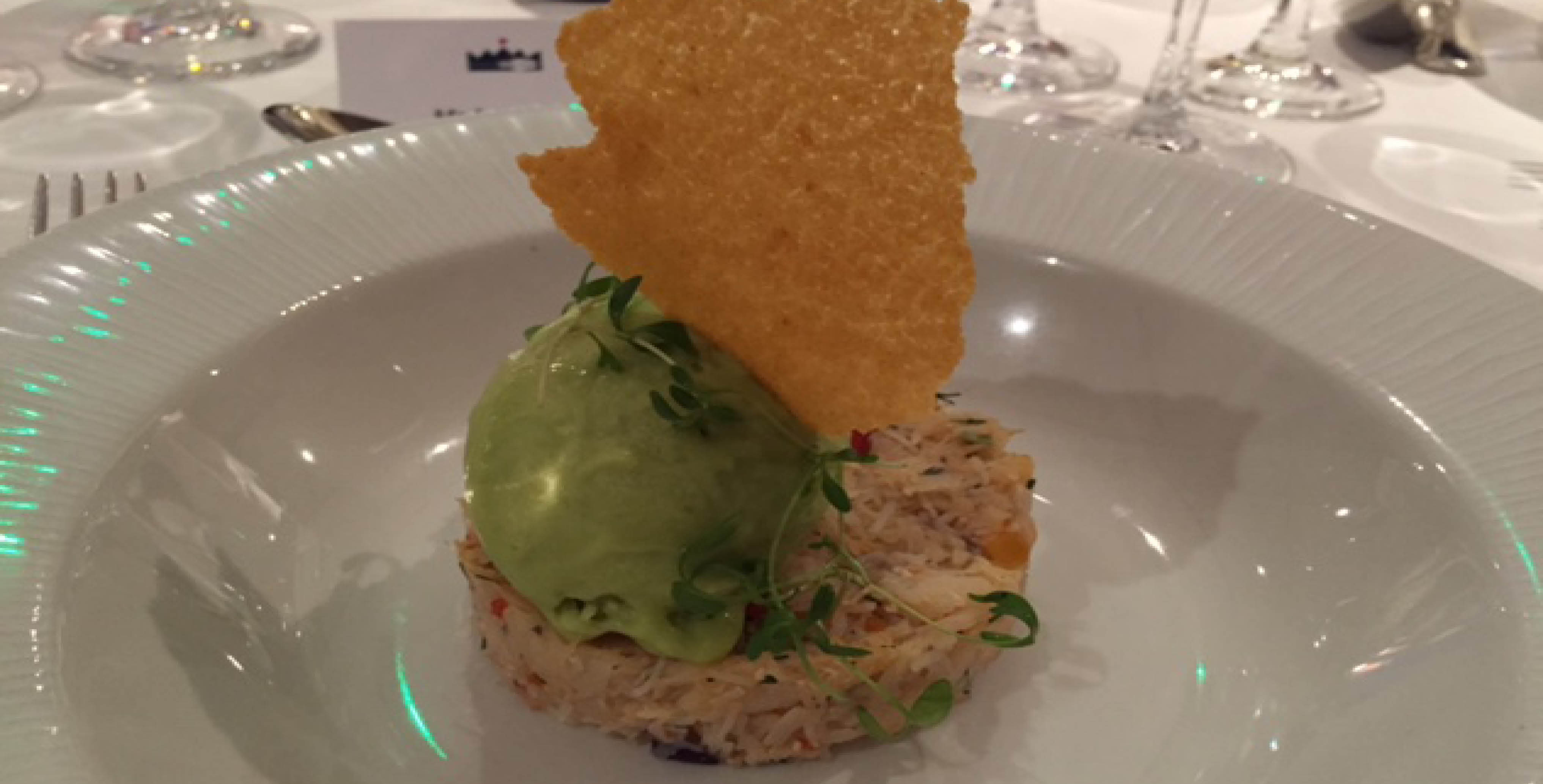 Crab Salad with avocado ice cream